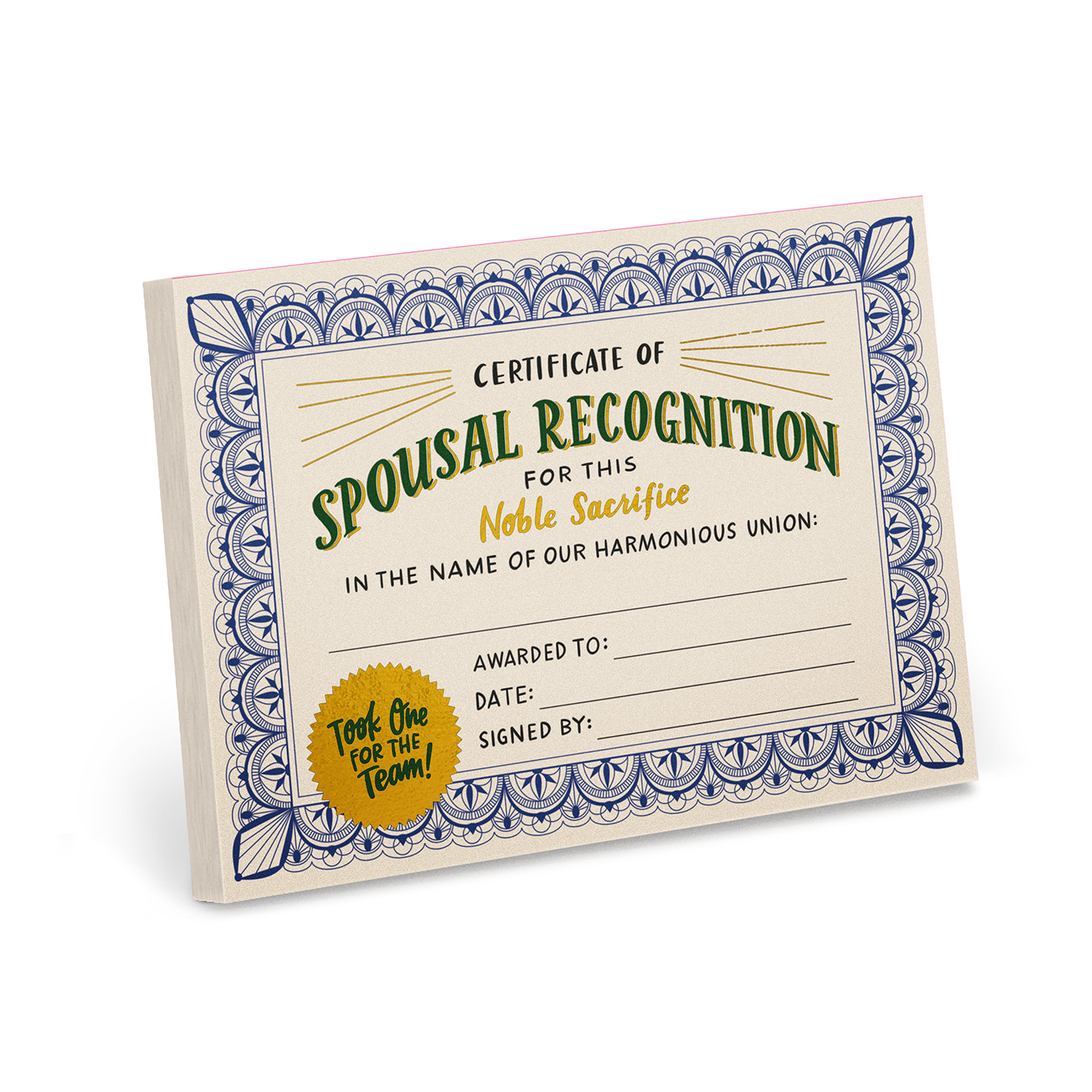 Certificate Pads: Spousal Recognition