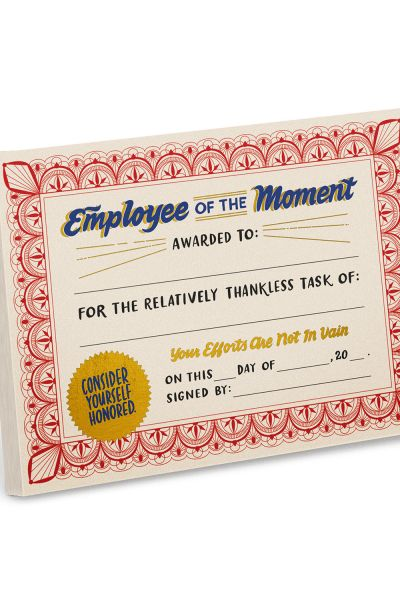 Certificate Pads: Employee of the Moment